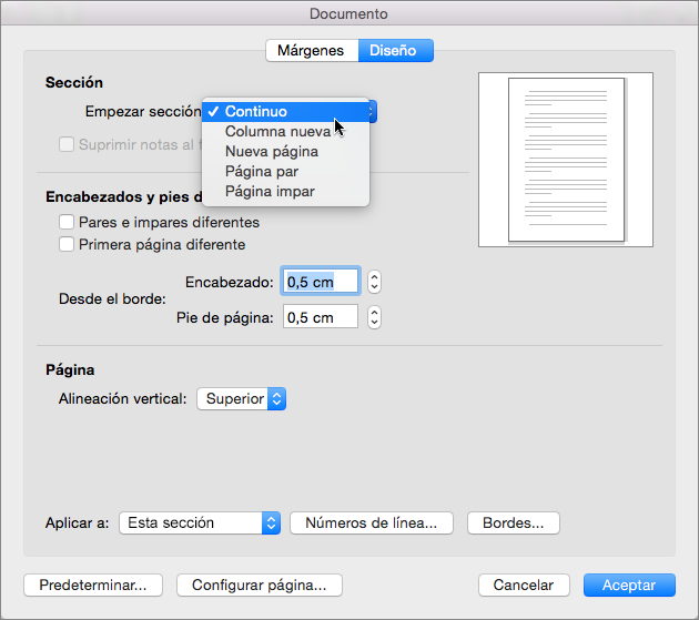 El cuadro de diálogo Documento contiene opciones de configuración para administrar secciones, encabezados y pies de página.
