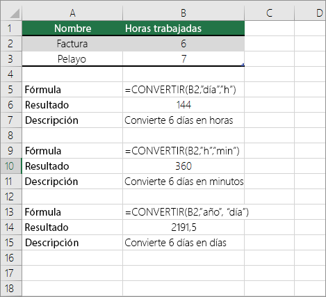 Ejemplo: Convertir unas unidades de tiempo en otras
