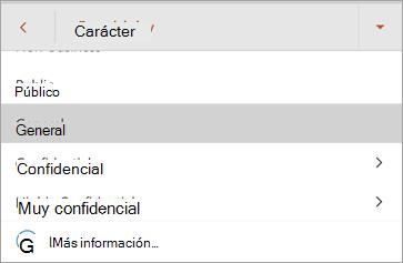 Captura de pantalla de las etiquetas de confidencialidad en Office para Android
