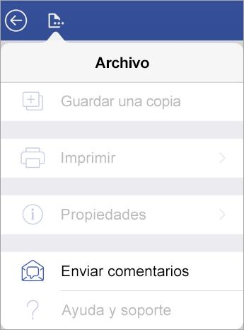 Captura de pantalla del vínculo Enviar comentarios en Visio en iPad