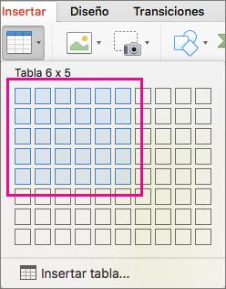 Inserción de una tabla con la cuadrícula