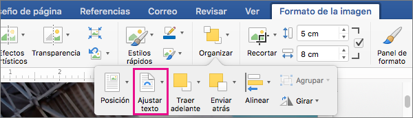 Haga clic en Ajustar texto para seleccionar cómo se ajusta el texto alrededor de una imagen o un objeto de dibujo.