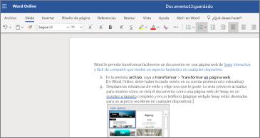 Un documento con imágenes en Word online