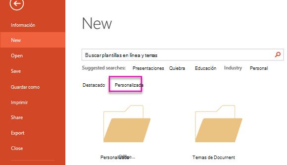 En la página nuevo archivo, seleccione personalizado para tener acceso a la plantilla que creó.