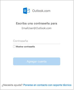 Escriba la contraseña de su cuenta de outlook.com