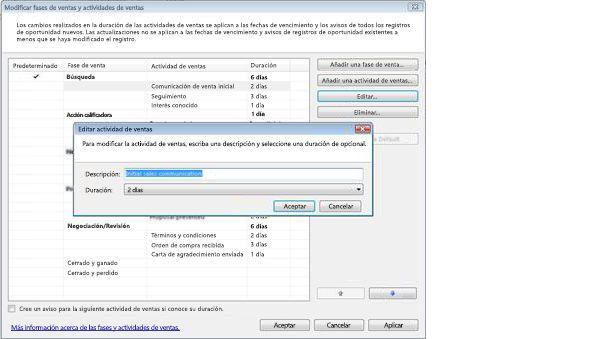 Cuadro de diálogo Editar actividad de ventas con los cuadros de diálogo Modificar fases de ventas y Actividades de ventas detrás