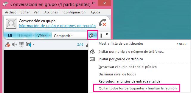 Captura de pantalla de las opciones de reunión - botón Finalizar reunión