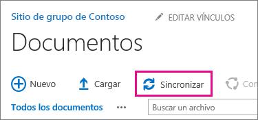 Comando Sincronizar en una biblioteca de documentos de SharePoint