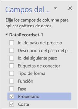 Aplicar gráficos de datos para los diagramas del Visualizador de datos de Visio con el panel Gráficos de datos