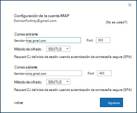 Compruebe la configuración imap de Gmail.
