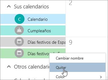 Captura de pantalla de la opción de eliminar calendario
