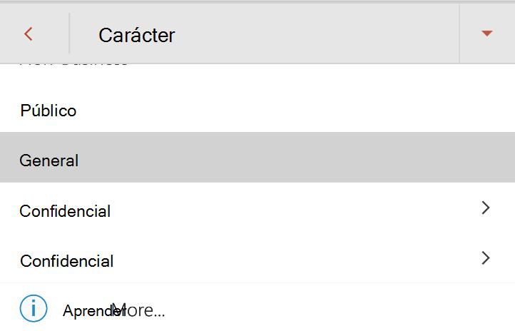 Menú de sensibilidad en Android con etiquetas de sensibilidad mostradas