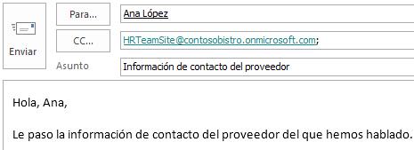 Mensaje de correo electrónico con el buzón de sitio incluido en el campo CC.