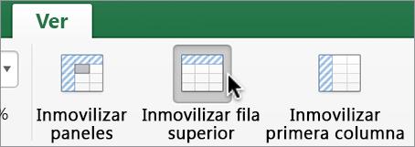 Pestaña Visualización, botón Inmovilizar fila superior