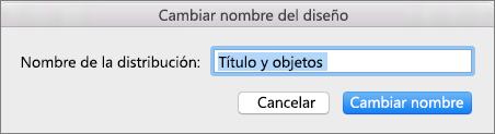Diseño Cambiar nombre de patrón de diapositivas de PPT para Mac