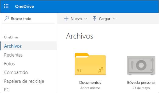 Captura de pantalla del almacén de credenciales personal que aparece en la vista Archivos en OneDrive en la web