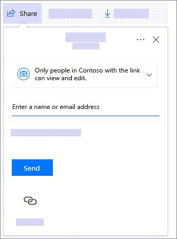 Captura de pantalla del cuadro de diálogo de uso compartido en el que se muestra un vínculo para compartir con personas de la organización.