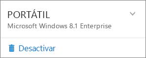 Captura de pantalla de cómo desactivar una instalación de O365 Empresa