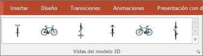 La galería Vistas de modelo 3D ofrece algunas opciones preestablecidas útiles para organizar la visualización de la imagen 3D.