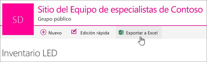 Lista de SharePoint Online con Exportar a Excel resaltado