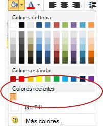 Opción Colores recientes