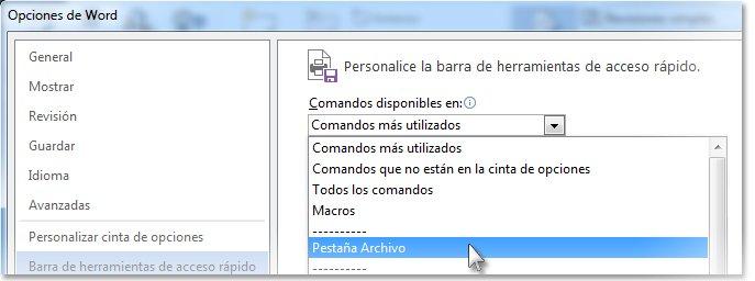 Personalizar la barra de herramientas de acceso rápido agregando comandos en la pestaña Archivo
