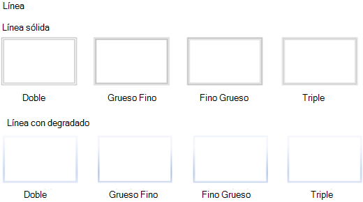 Estilos de línea que no son compatibles con Visio para la Web.