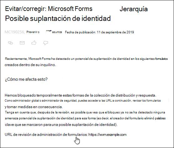 Selección del hipervínculo de la dirección URL de revisión de administración de formularios en el centro de administración de Microsoft 365 acerca de Microsoft Forms y la detección de phishing