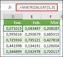 La función MATRIZALEAT en Excel. MATRIZALEAT(5;3) devuelve valores aleatorios entre 0 y 1 de una matriz que tiene 5 filas de alto por 3 columnas de ancho.