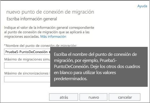 Nombre del extremo de migración