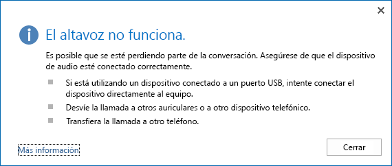 Captura de pantalla de un error de audio y opciones para revisar