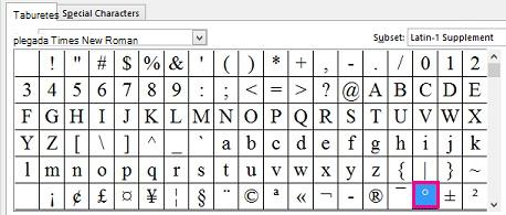 En la pestaña Símbolos, haga clic en el símbolo de grado.