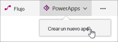 Elemento de menú PowerApp en la barra de comandos con la aplicación de Power crear resaltado.
