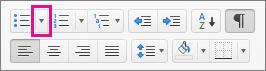 Haga clic en la flecha junto al icono de viñetas para seleccionar o agregar viñetas.