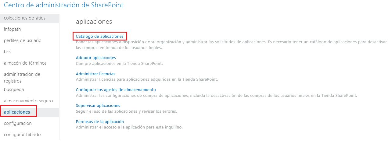 Captura de pantalla de las categorías de aplicación del Centro de administración de SharePoint.
