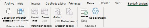 Pestaña cinta del flujo de datos de Excel
