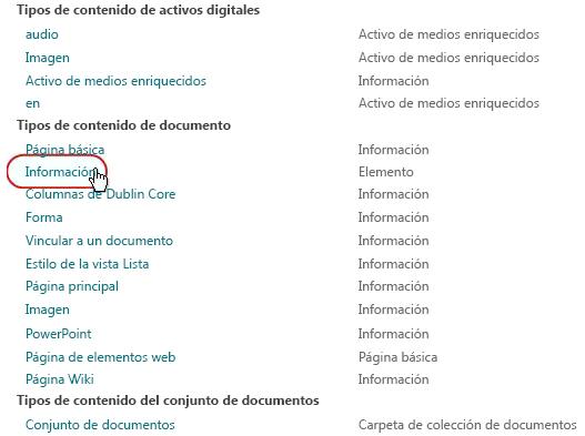 Tipos de contenido de documentos con el tipo resaltado