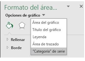 Selección de opción de serie de gráficos de mapa de Excel