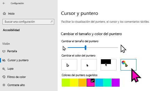 Cambiar el tamaño y el color del puntero en la aplicación configuración de Windows 10