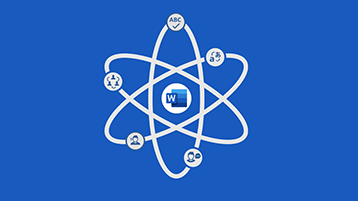 Pantalla de título de infografías para Word: el símbolo del átomo con el logo de Word en el centro
