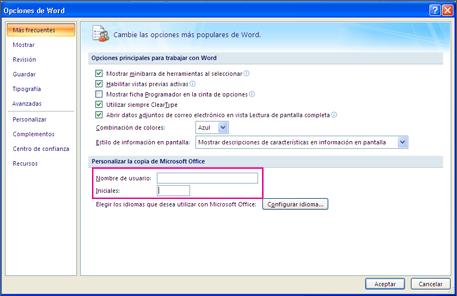 Word 2007 opciones de personalización