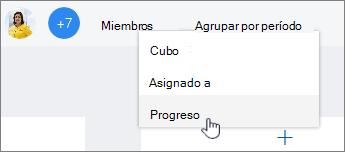 Haga clic en Agrupar por y a continuación, seleccione progreso