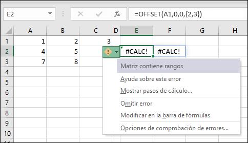 #CALC! error: la matriz contiene intervalos
