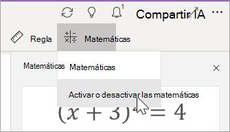 Activar o desactivar las matemáticas