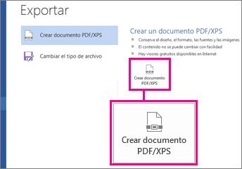 Cree un botón PDF/XPS en la pestaña Exportar en Word 2016.