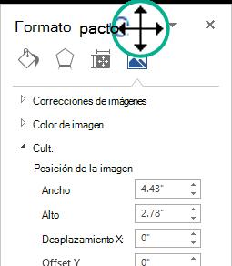 El panel formato de imagen en un estado no acoplado: una ventana flotante