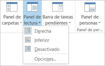 Opciones del panel de lectura en la ficha Ver