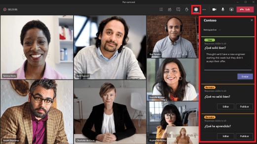 Abra una aplicación durante una reunión.