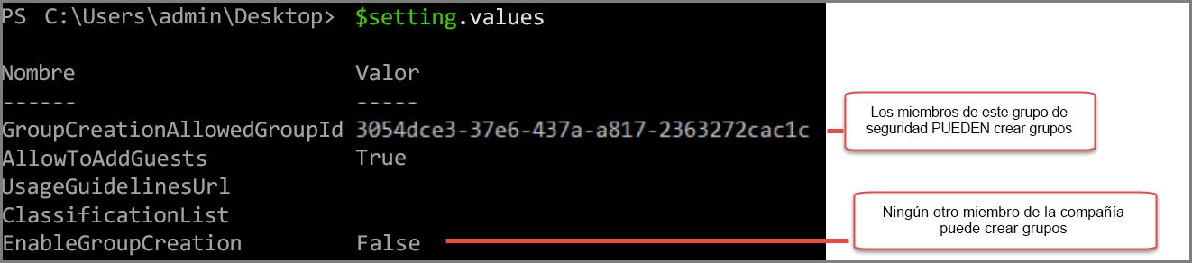 Objeto de configuración de grupo con el valor cambiado