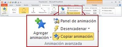 Ficha Animaciones en la cinta de PowerPoint2010.
